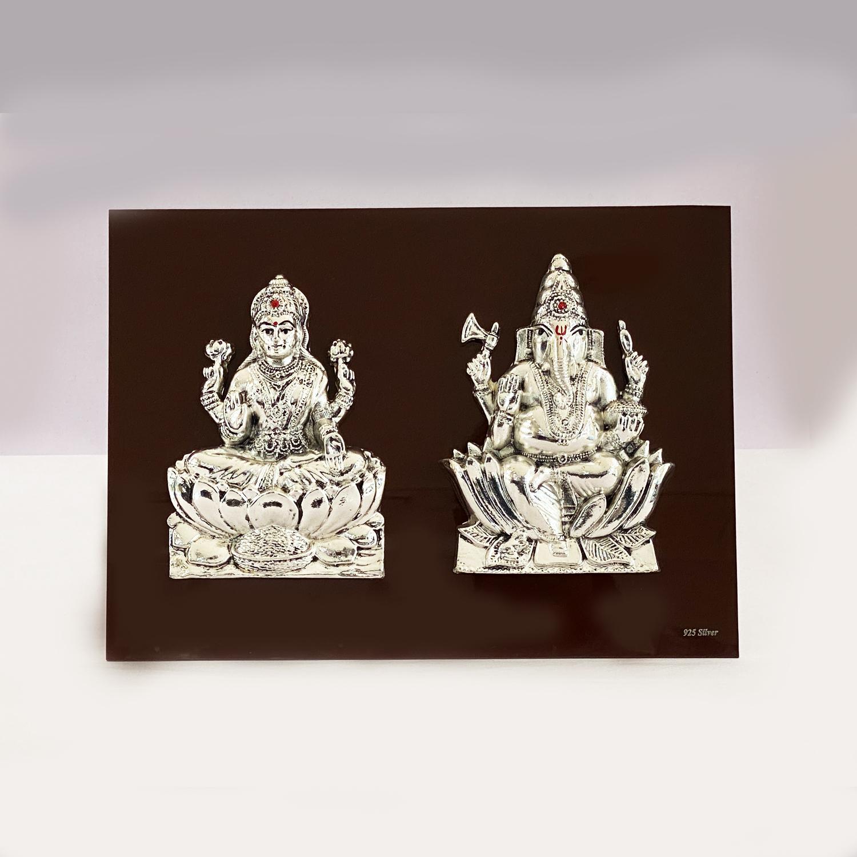Fine Silver Laxmi Ganesh Tabletop Plaque    11×8″