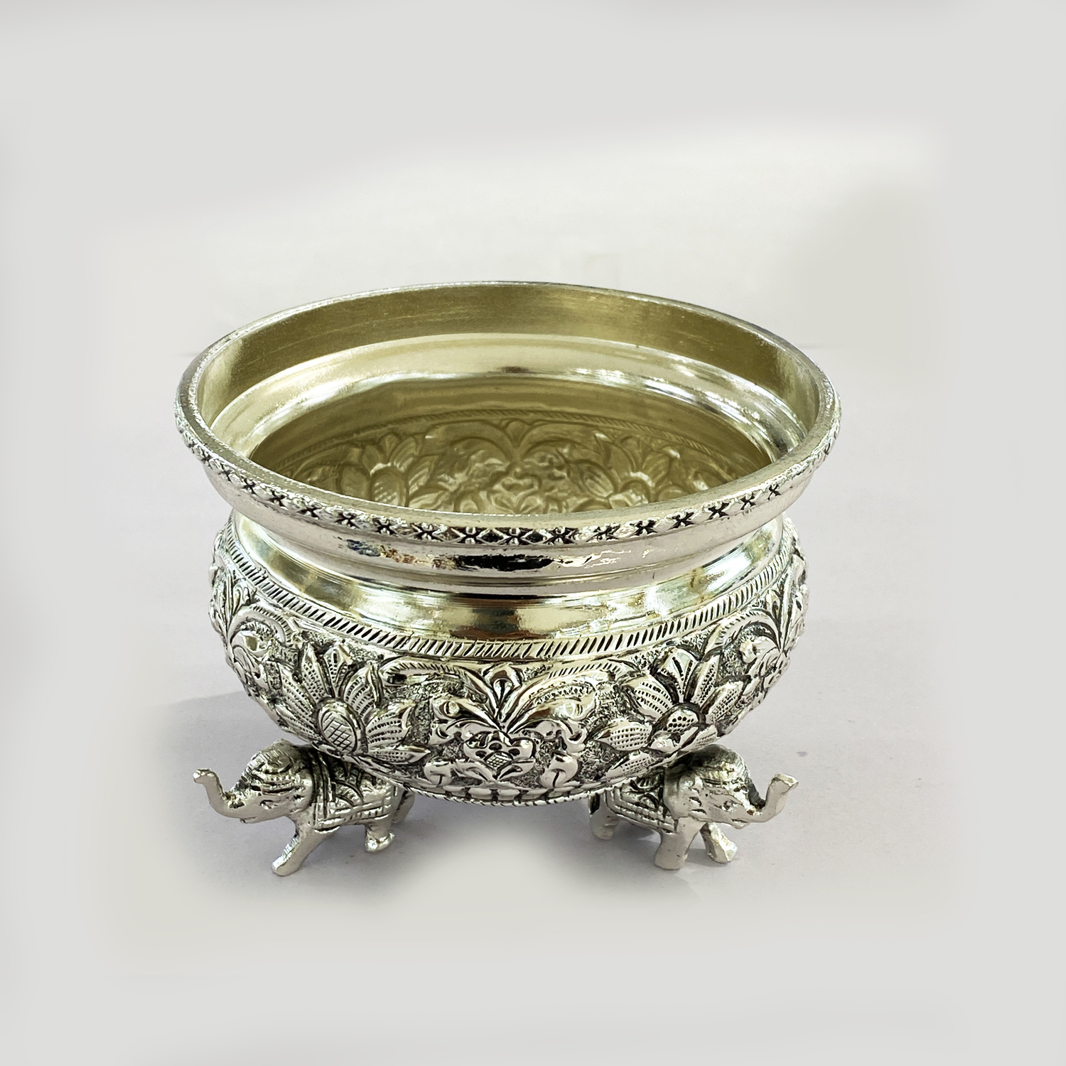 Antique Silver Plated Bowl or Urli   4.2 Inch