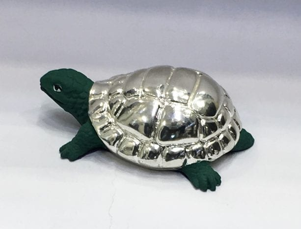 Fine embossed, green terracotta finished mini Turtle – 2.5 Inch Long – Resin Silver
