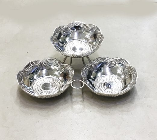 One of a kind, handcrafted, three parts Nut Dish … 9.5×8.0x3.2 inch … 925 Sterling Silver