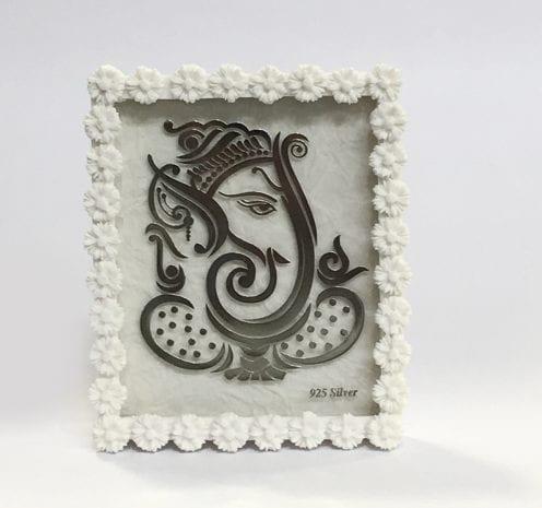 Buy Silver Foil Ganesh Frame Gift Online – 4.5″
