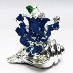 Silver Ganesh Statue on a Shankh in Blue Terracotta finish – 3.5 Inch High – Resin Silver