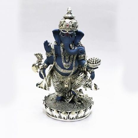 Standing Silver Ganesha  in Antique look – 7.5″