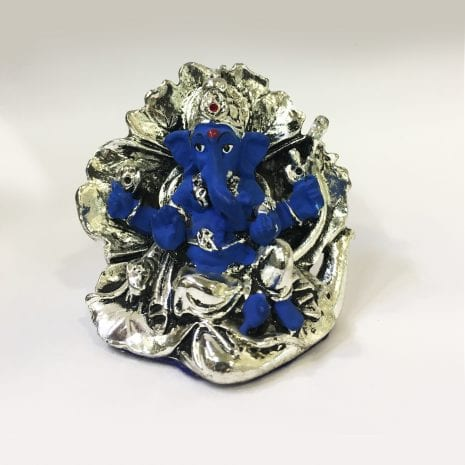Gorgeous Mini Ganesha on a Leaf in Blue Color Finish – 2.0 inch – Resin Silver
