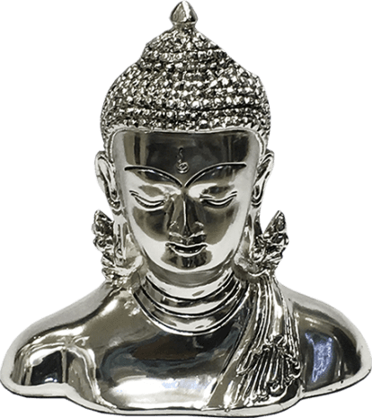 Budha Head – 6 inch Height – Resin Silver