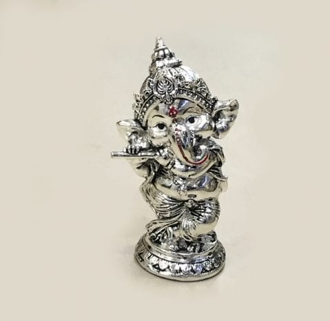 Cute Silver Ganesha playing mystic Bansuri 5.7″ – Resin Silver