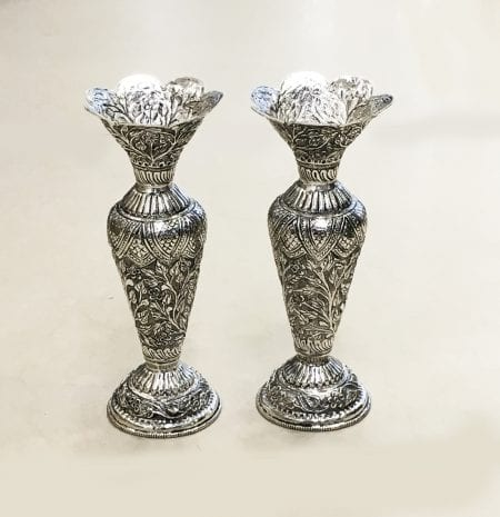 Silver Plated Antique Ethnic Flower Vase Pair – 9″ Ht