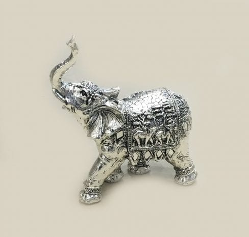 Unique Silver Elephant with trunk up – 5.5 inch … Resin Silver
