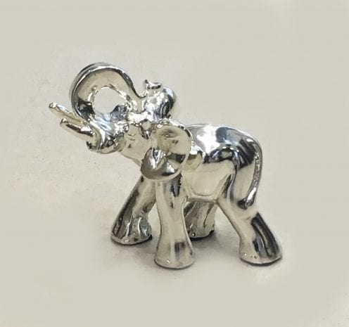 Mini Silver Elephant Gift, trunk down High Polish 2.2″ – Resin Silver