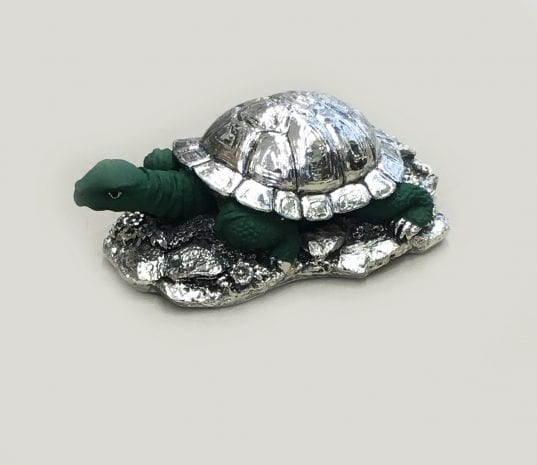 Super Silver Turtle Gift in Green Finish (Kachua)- 7.5 Inch Long – Resin Silver