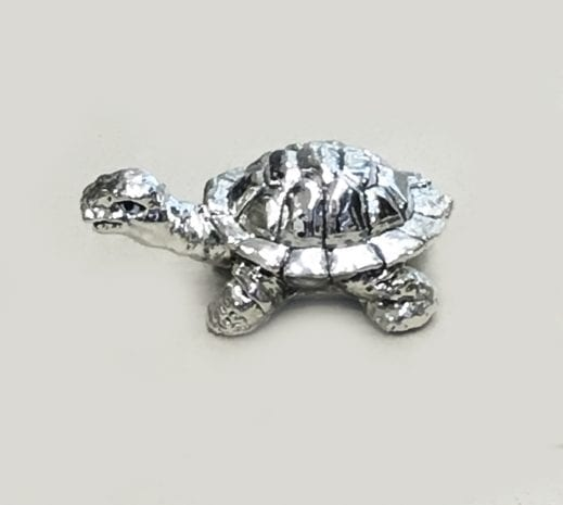 Small Silver Turtle (Kachua) – 2.5 Inch Long – Resin Silver