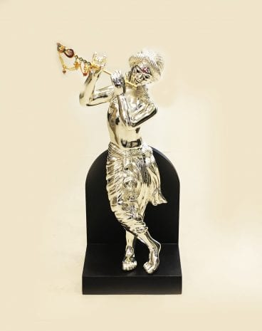 Silver Krishna Idol Standing and Playing Flute | 13.5″