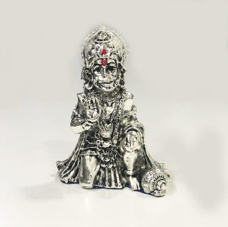 Small Silver Hanuman 3.2″ – Resin Silver