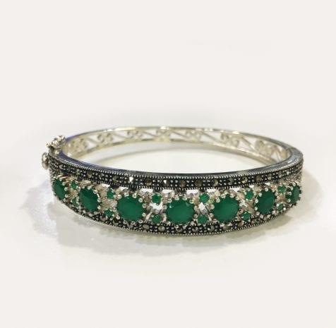 Silver Marcasite Green Onyx bracelet in 925 sterling silver