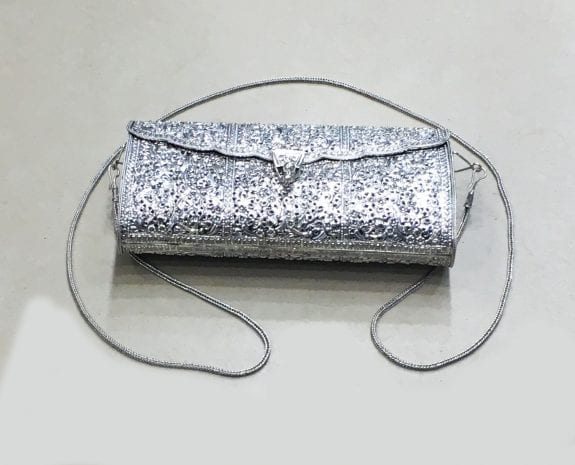 Gorgeous Pure Silver Purse fine floral motif with Chain … 8.2″ Long …  925 Sterling Silver