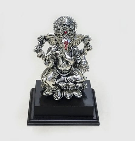 Silver Ganesha on a Wood pedestal 7.5″- Resin Silver