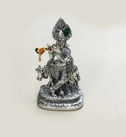 Silver Krishna with Cow Statue – 5.5″ – Resin Silver