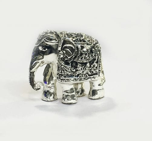 Antique Silver Elephant Gift  3″ – Resin Silver