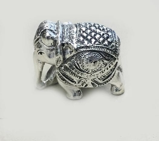 Miniature Silver Elephant Trunk Down Antique finish 2.2″ – Resin Silver