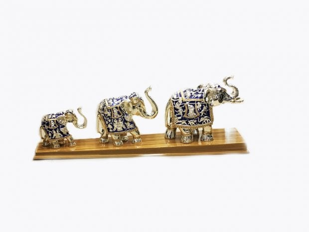 Silver Elephant Figurine set of three in Blue Color, 23.5″ Long – Resin Silver