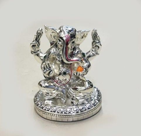 Silver Ganesha Statue in Ashirwad Pose – 6.5″