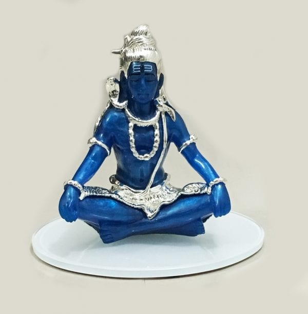 Buy Silver Shiva Gift Blue color 7.2 Inch – Resin Silver