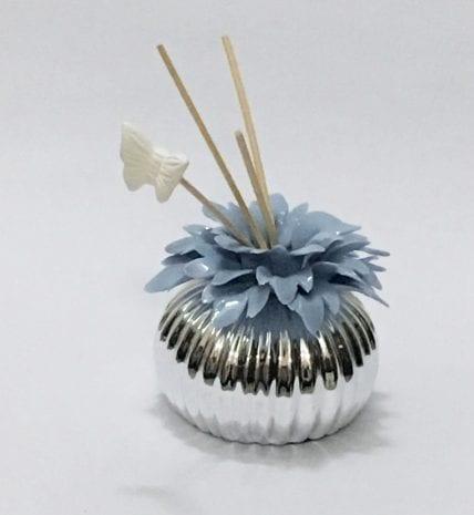 Silver Layered Ceramic Incense Diffuser Blue – 4 Inch