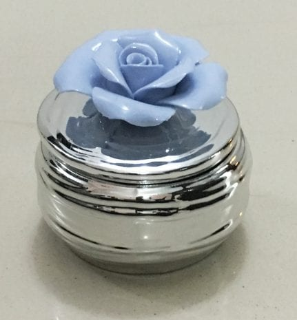 Silver Layered Ceramic Box with Blue Flower – 3 Inch