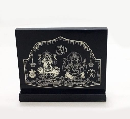 Unique Silver Foil Laxmi Ganesha set on a Black Solid Acrylic Stand – 4.5 Inch