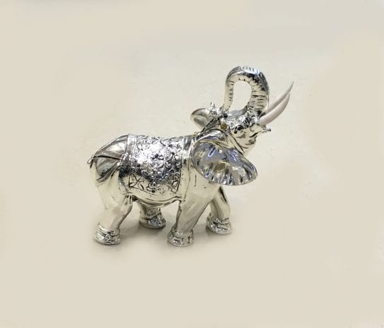 Buy Silver Elephant Online Standing, trunk Up in High Polish 6.2″ – Resin Silver