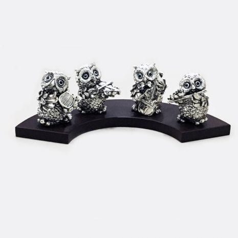 Buy Musical Silver OWL Gift set of four – 13.5″ Long – Resin Silver