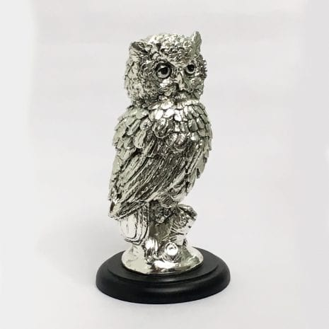 Best Silver OWL Sculpture Gift 8.7 Inch – Resin Silver