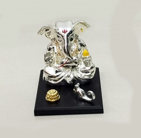 Traditional Silver Ganesh Statue set on a wooden base, 5.0″ Long – Resin Silver