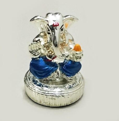 Buy Mini Silver Ganesha Idol Gift Blue – 2.5 inch