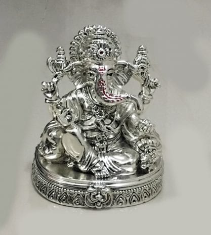 Silver Lord Ganesha in a Sitting pose – 6.5 Inch High – Resin Silver