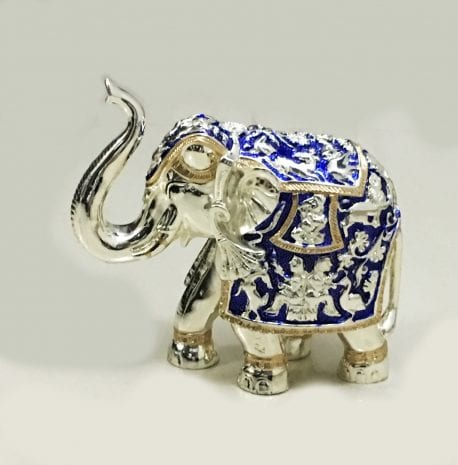 Decorative Silver Elephant with trunk up in Blue Enamel finish – 6.5 inch High – Resin Silver