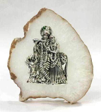 Buy Small  Silver Radha Krishna – 5.5 Inch