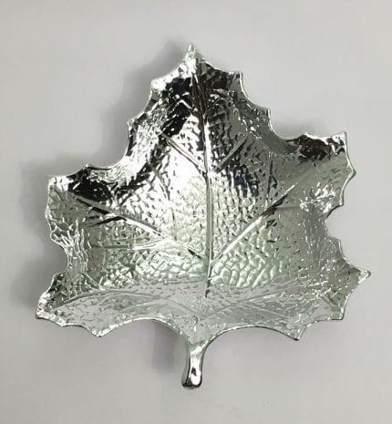 Fine Silver Chinar Leaf Dish – 999 Argento Sputtering -8.5 Inch