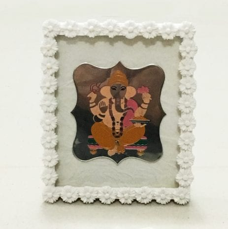Pure Silver Ganesha Frame in 925 Sterling Silver – 4.5 Inch