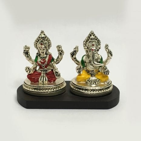 Silver Laxmi Ganesh Statue India in Color | 3.2 Inch – Resin Silver