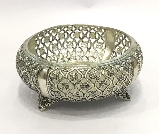 Antique Silver Plated Round Bowl Gift – 7 inch