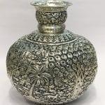 Embossed Silver Plated Vase cum Kalash – 10 Inch