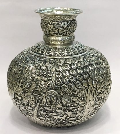 Embossed Silver Plated Vase cum Kalash – 10 Inch