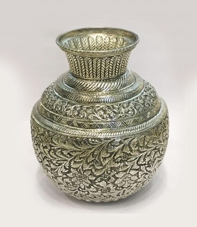 Antique Silver Plated Kalash cum Vase – 10.5 Inch