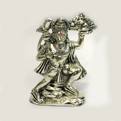 Buy Silver Hanuman Statue with Pahar or Parvat – 5.7 Inch
