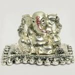 Buy Silver Ganesh Idol Matte Finish