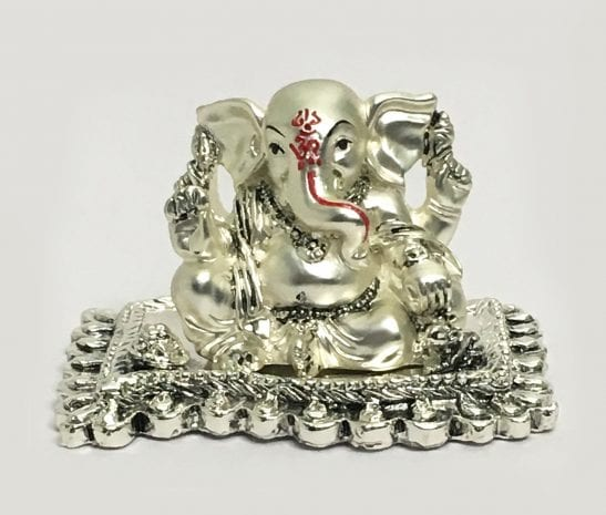 Buy Silver Ganesh Idol Matte Finish