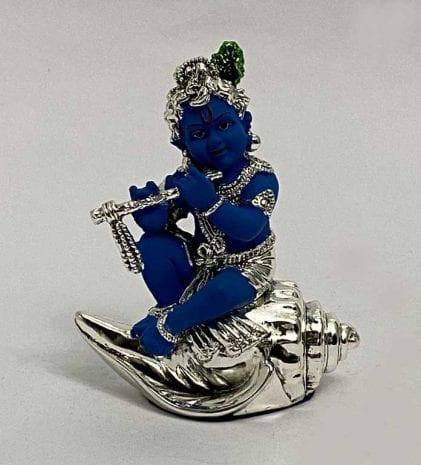 Silver Baby Krishna on Shankh   4.5″ Blue