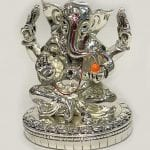 Silver Ganesha Statue in Sitting Pose | 6.5″