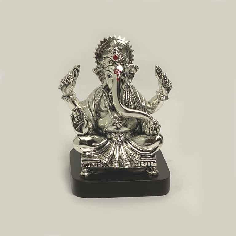 Silver Ganesh Idol for Home   5.5 Inch
